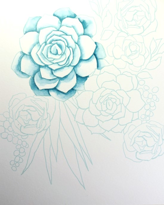 How to Paint Watercolor Succulents Step (2)