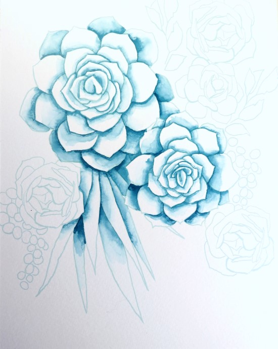 How to Paint Watercolor Succulents Step (4)