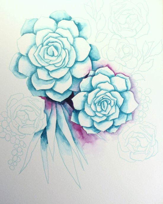 How to Paint Watercolor Succulents Step (5)