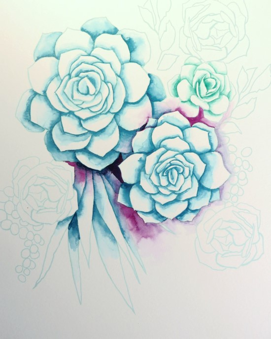 How to Paint Watercolor Succulents Step (6)