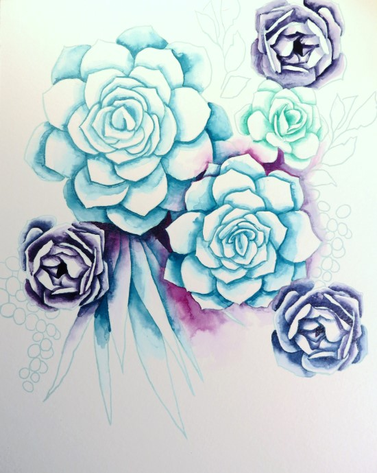 How to Paint Watercolor Succulents Step (7)