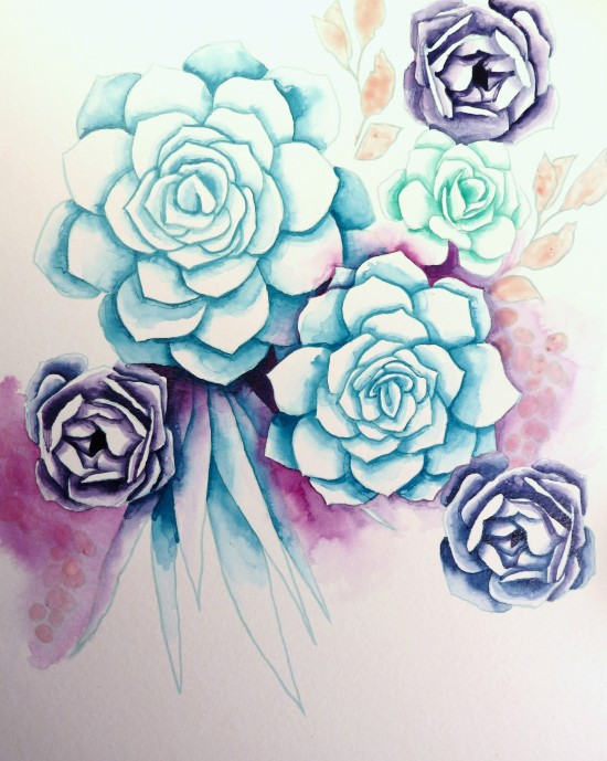 How to Paint Watercolor Succulents Step (8)