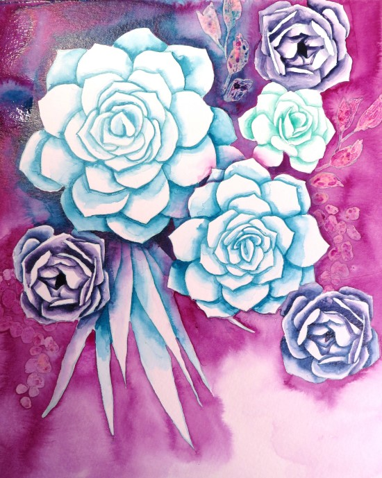 How to Paint Watercolor Succulents Step (9)