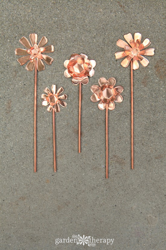 How to make Copper Garden Art Flowers