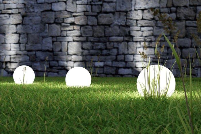 3 orb lights on grass