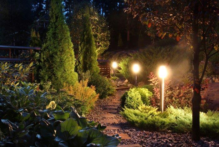 pathway lights in a garden