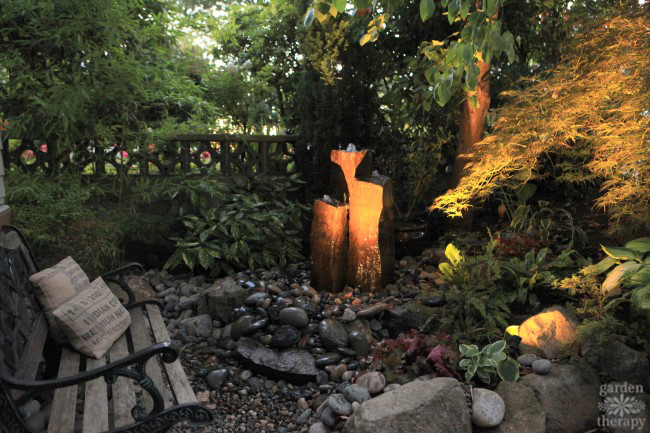 Outdoor garden fountain with lighting for night enjoyment