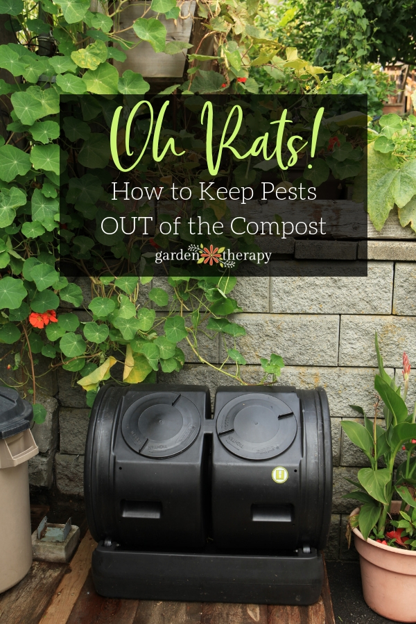 "Compost tumbler with copy ""Oh Rats! How to Keep Pests OUT of the Compost"""