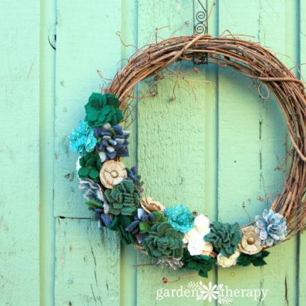 felted succulent wreath