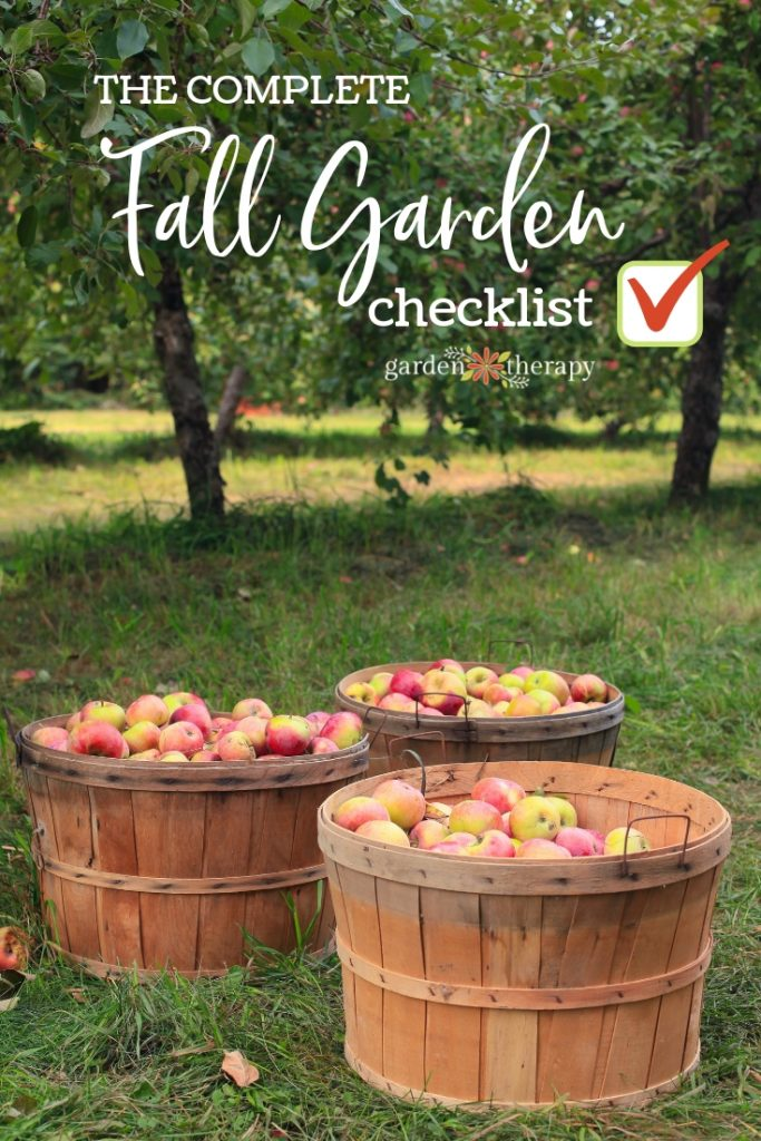 "Baskets of apples with copy ""The Complete Fall Garden Checklist"