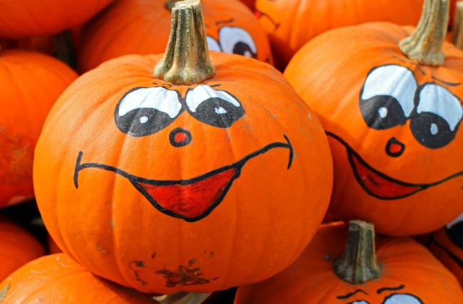Pumpkins with painted faces
