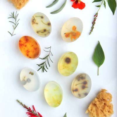 DIY Botanical Soap Bars Filled with Herbs, Flowers, and Greenery