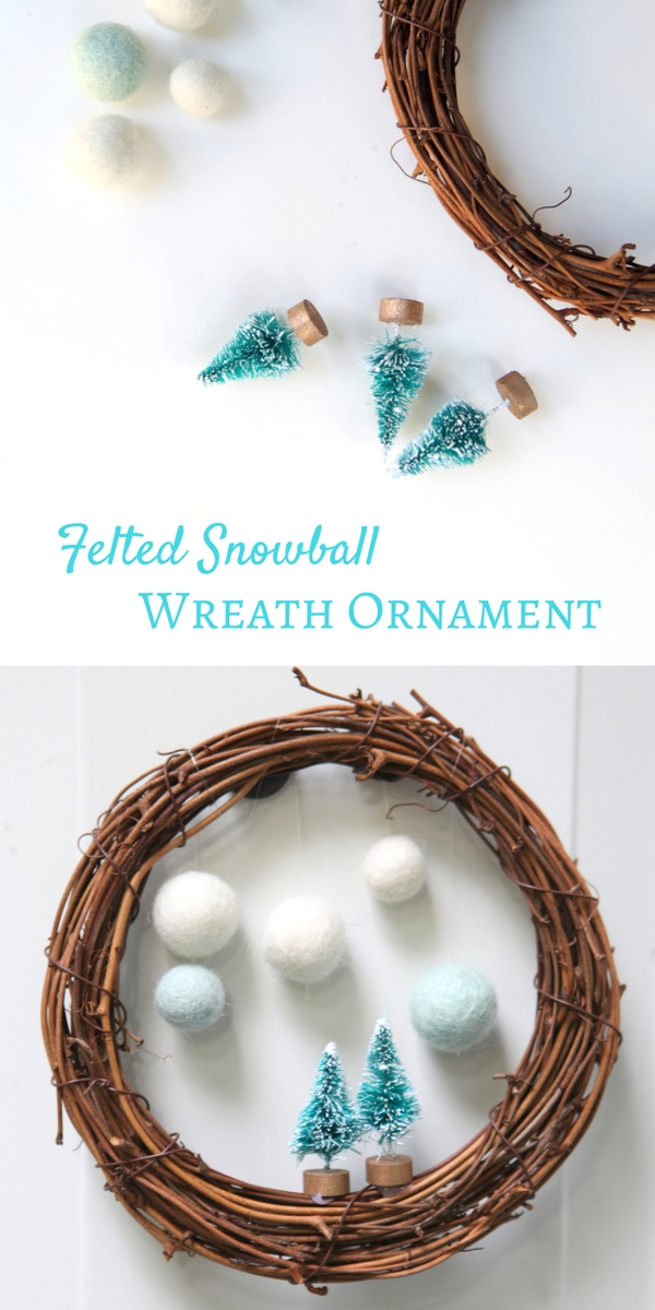 How to make a felted snowball wreath. Personalize it with fairy garden or miniatures.