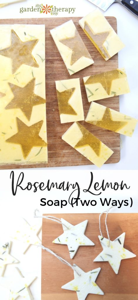 Rosemary Lemon Soap Recipe Two Ways Bars and Soap on a rope stars