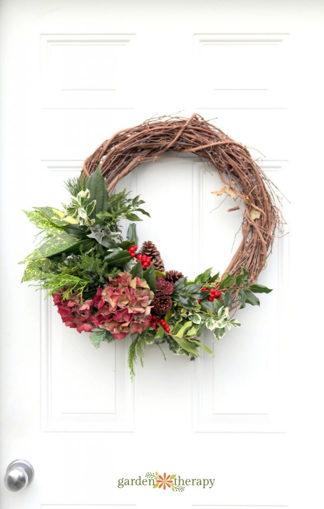 A beautiful holiday wreath made for free from the garden