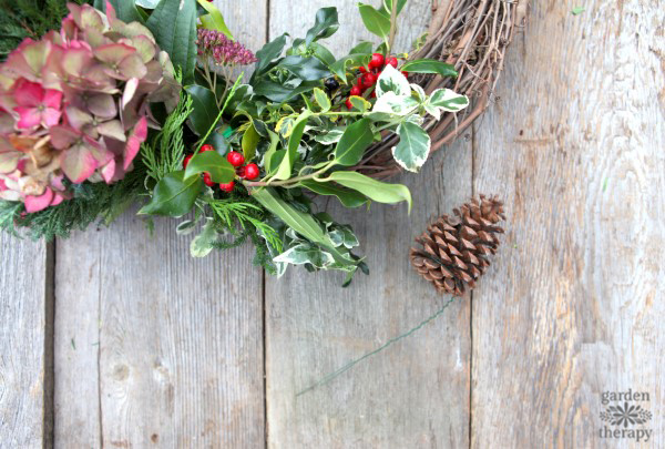 Make a beautiful fresh wreath with a variety of greenery cut from the garden with this easy step-by-step tutorial