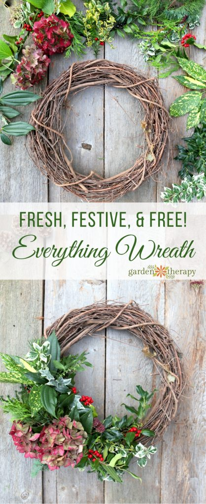 Everything Wreath Make a beautiful fresh wreath with a variety of greenery cut from the garden with this easy step-by-step tutorial