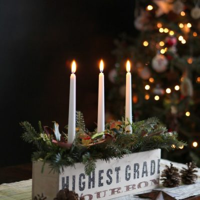 Rustic and Natural Christmas Candle Centerpiece
