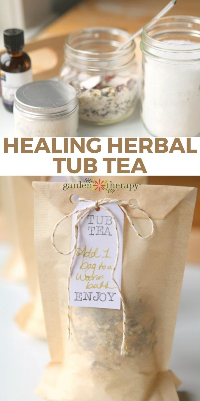 bath tea ingredients and finished tub tea project