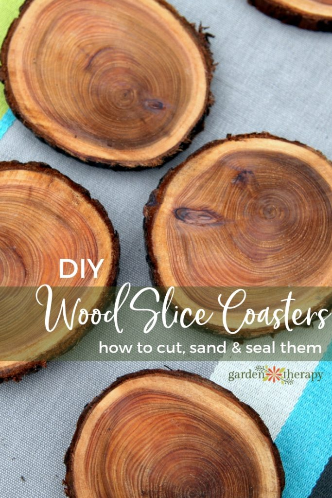 Wood Slice Branch Coasters how to cut sand and seal them