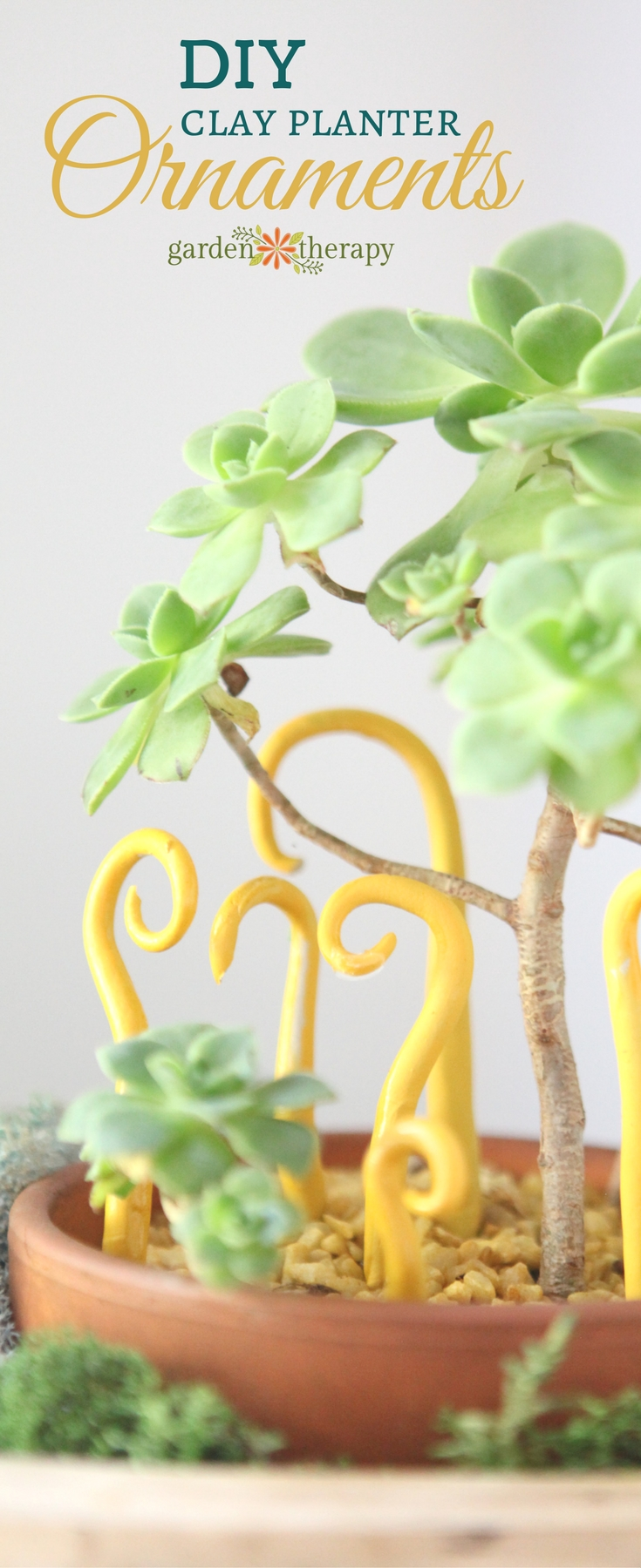 Whimsical DIY clay ornaments for indoor planter decorating