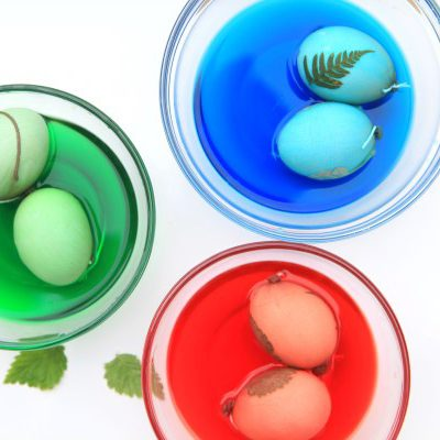Botanical Leaf Imprint Easter Eggs