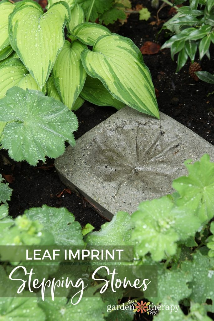 DIY Leaf Print Stepping Stones Made of Concrete