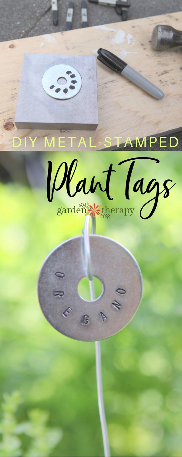 Here is a modern take on metal-stamped plant tags made from metal washers from the hardware store. These can also be used to label trees.Metal Stamped Plant Tags DIY - a simple project using supplies from the hardware store #gardentherapy #herbgarden #plants #gardenDIY #planttag