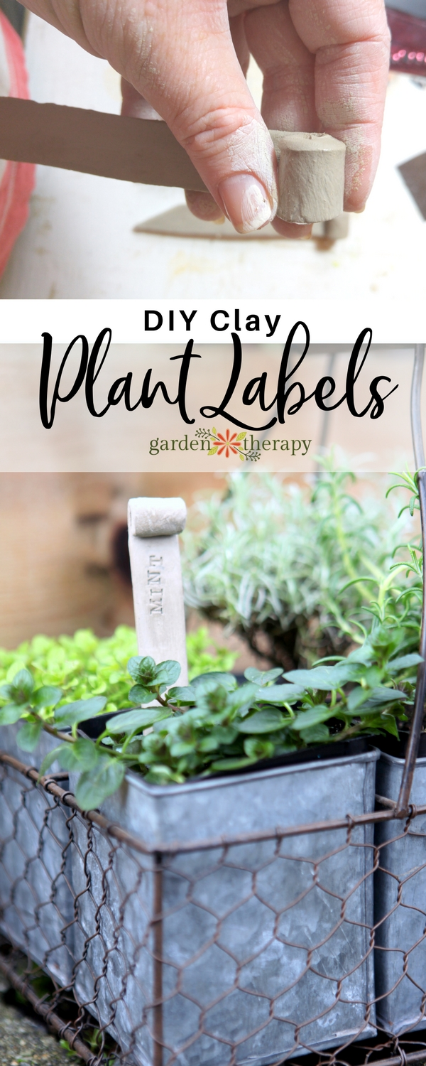 These clay plant stakes are made from air dry clay and rubber stamps. They can be used to identify herbs or to add a personalized message on gifts. Learn how to make them yourself with air dry clay by following these easy steps. #gardentherapy
