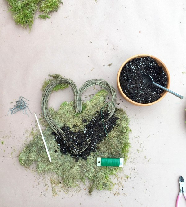 heart wreath with moss and soil