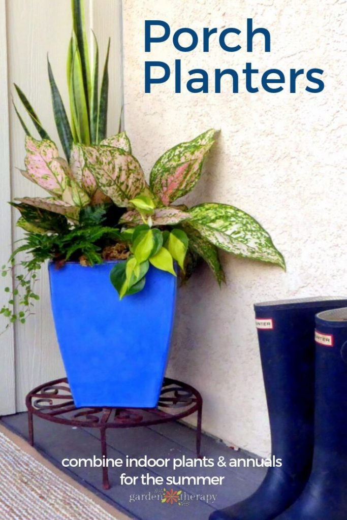 Porch Planters Combining Indoor Plants in Arrangements for the Summer