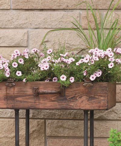 How to Make an Upcycled Suitcase Planter with Gas Pipe Legs + Giveaway!