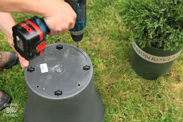 Drilling Drainage Holes in Garden Pot