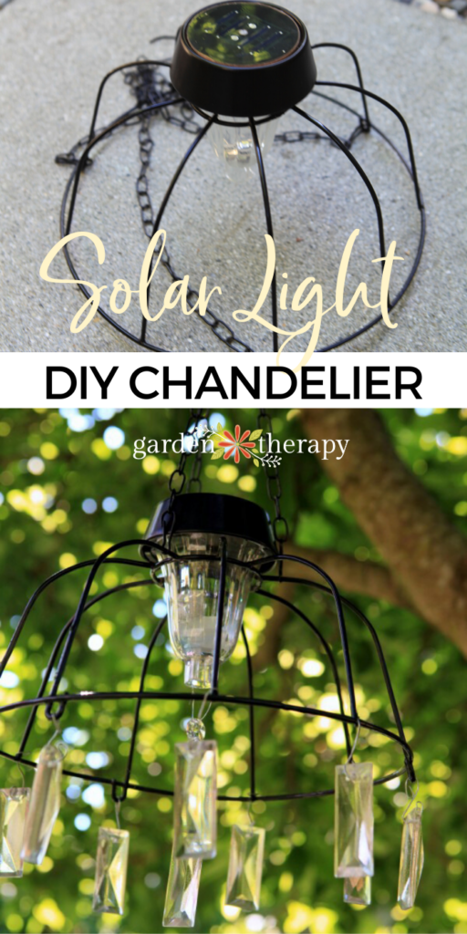 DIY hanging solar light hung in a tree