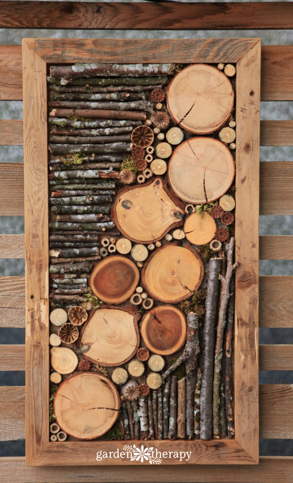 finished bug hotel fence art
