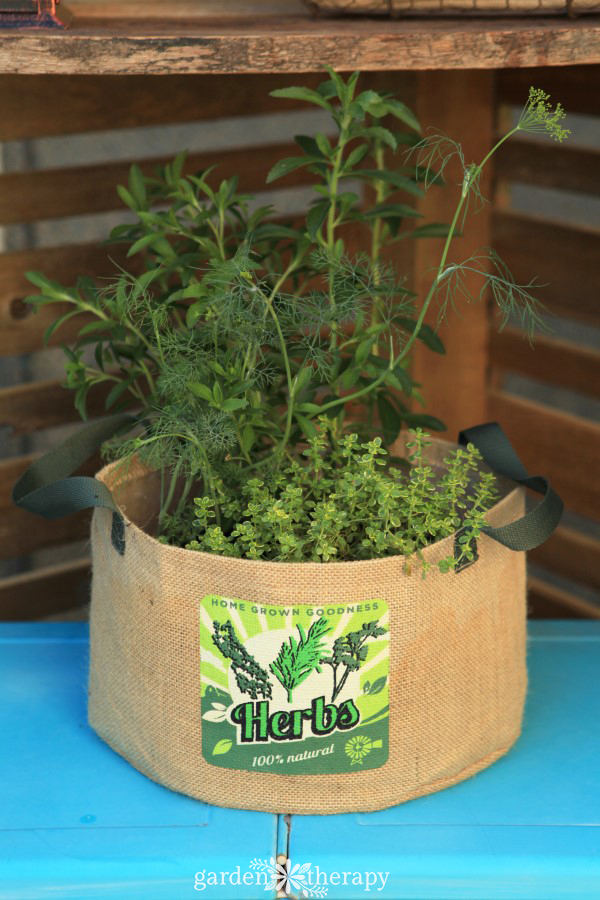 Burlap Herb Planter Bag