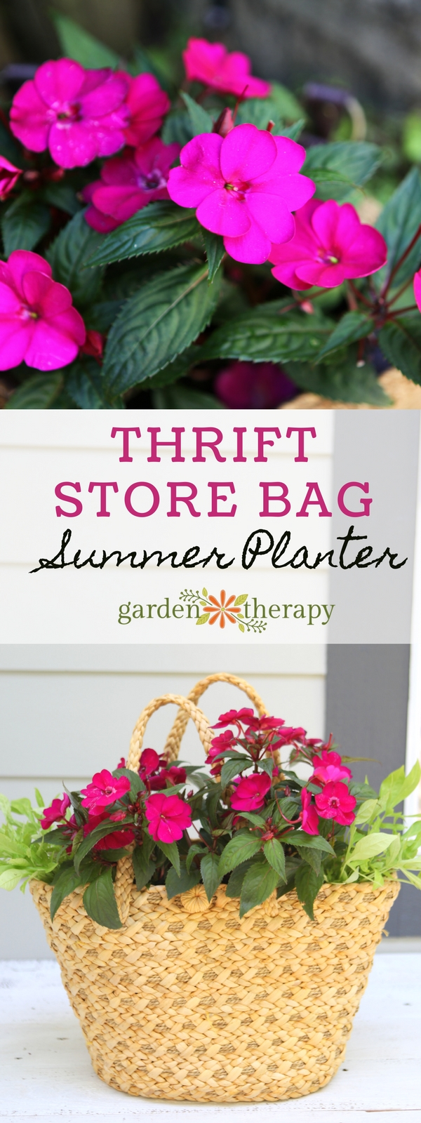 SunPatiens Straw Purse Planter DIY