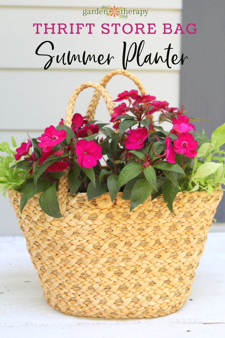 a DIY straw purse planter