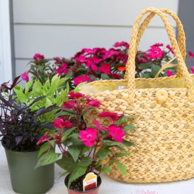 A Thrifted Straw Purse Planter for Summer