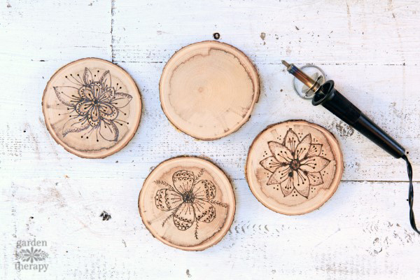 wood burned coaster project