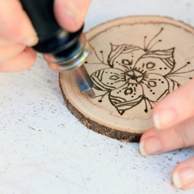 Wood Burned Coasters with Floral Pyrography