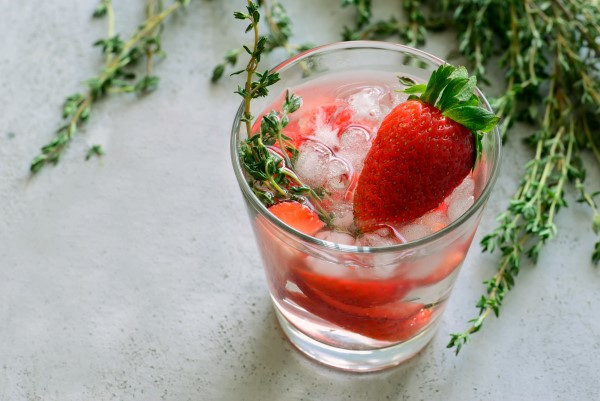 Strawberry infused vodka with Thyme