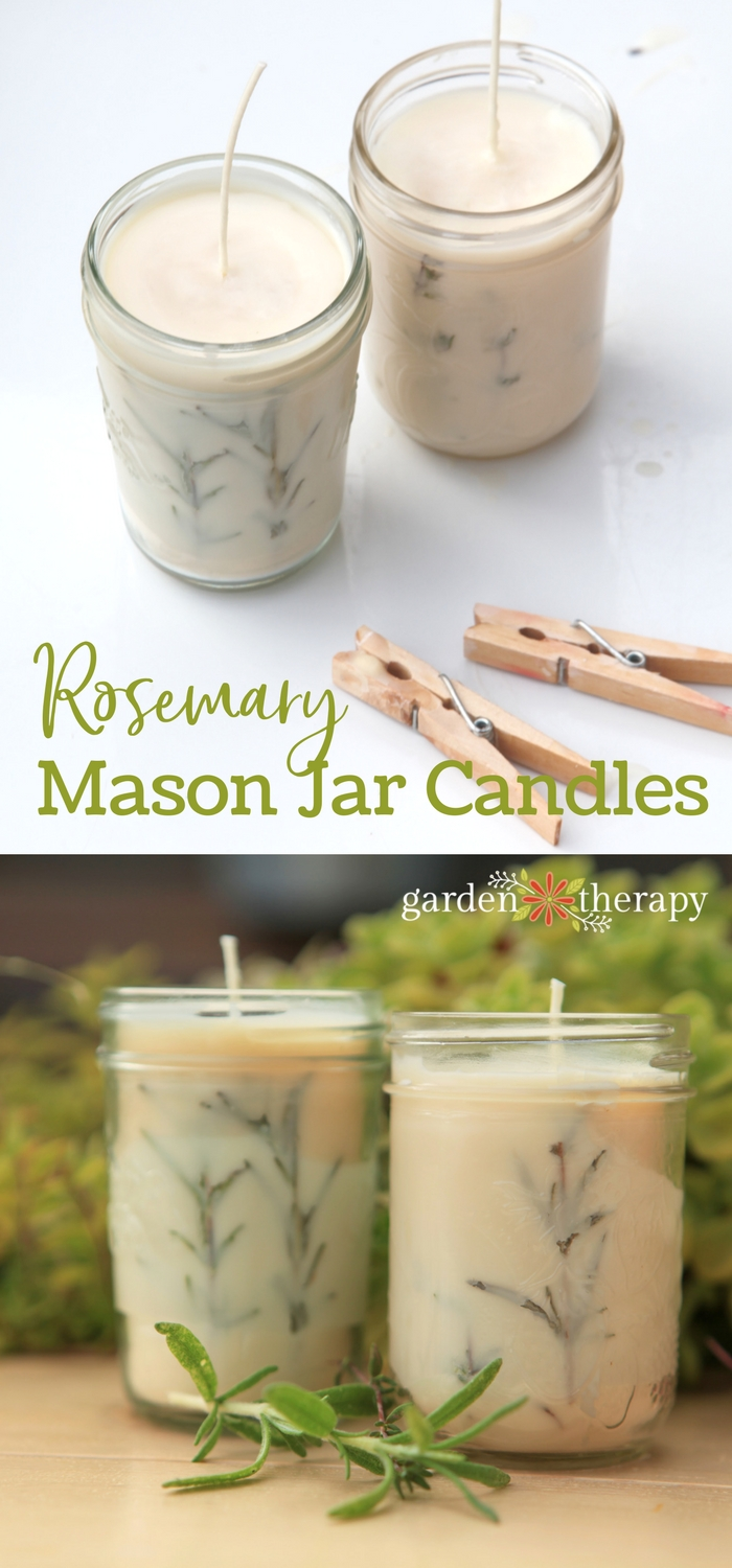 DIY Rosemary Mason Jar Candles
