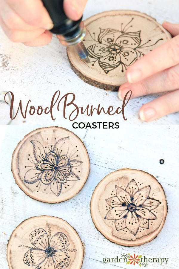 wood burned coasters