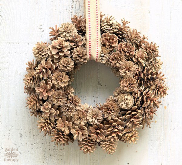 bleached pinecone wreath rustic ribbon