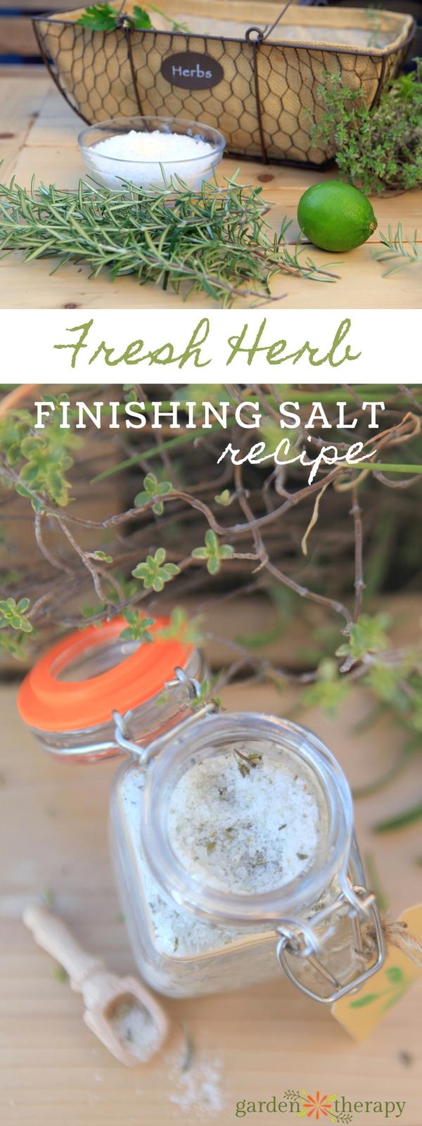 Finishing salt made with fresh garden herbs