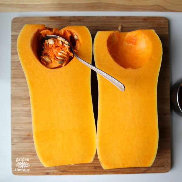 How to cut and prep butternut squash for recipes.
