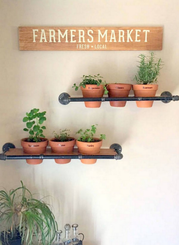herb garden shelves made from wood and piping