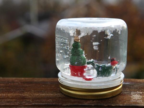 Make a mini garden snow globe.