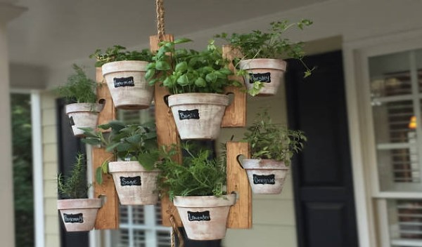 A customizable hanging herb garden